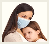 Mother covering her mouth to spread cold